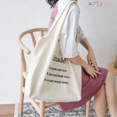 Túi tote vải Attitude' trẻ trung, đơn giản 406225