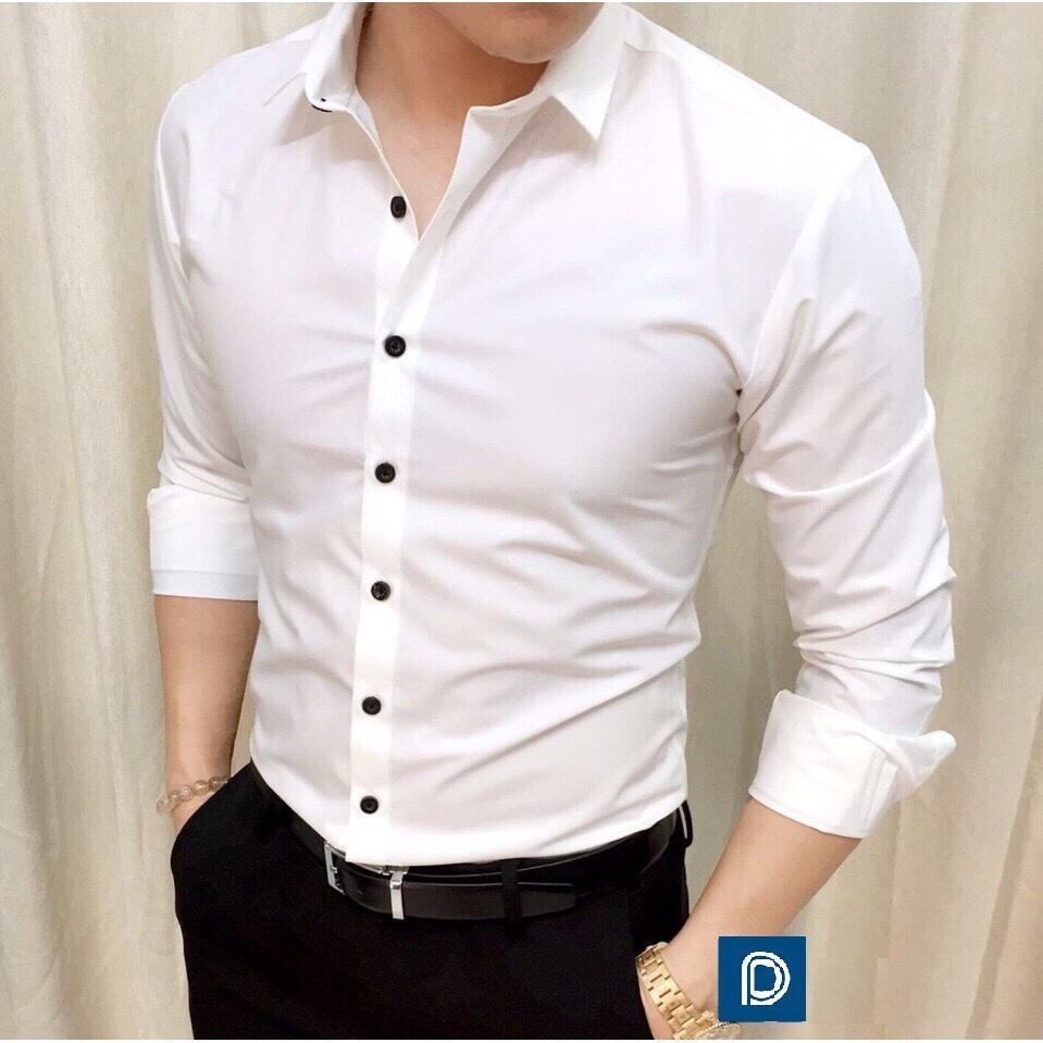 Áo sơ mi nam vải lụa nến không nhăn thời trang cao cấp – ANT02 Trắng