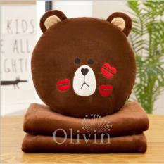 Bộ chăn gối 3 trong 1 cao cấp dễ thương gấu nâu Olivin LA766 ( Nâu đậm)