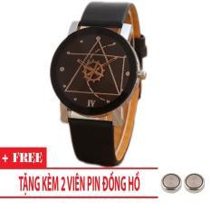 Đồng hồ nam dây da Thạch Anh Tam Giác (Dây đen, Mặt Đen) + Tặng Kèm Pin