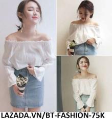 Áo Nữ Kiểu Trễ Vai, Voan , Cổ Tay Xòe Thời Trang Hàn Quốc Mới – BT Fashion (AK)