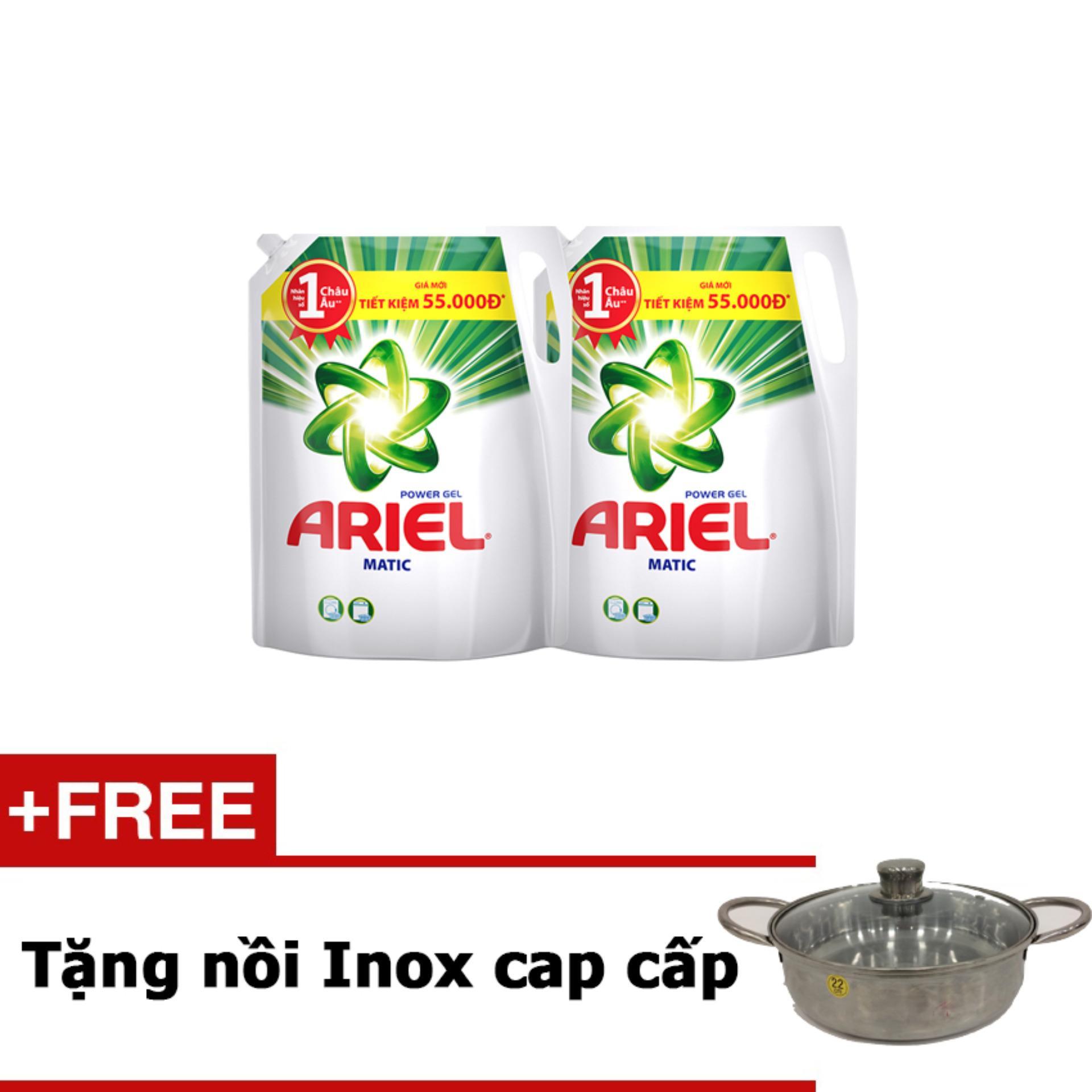 Bộ 2 Nước giặt Ariel gói 2.4KG tặng nồi Inox cao cấp