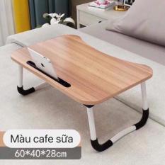 Bàn gỗ laptop co khe để ipad