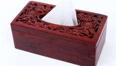 Hộp giấy ăn gỗ hương trạm hoa văn — nhị cúc