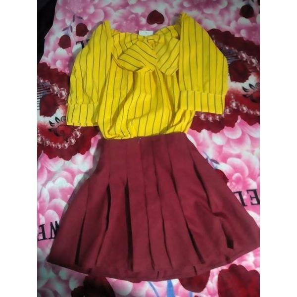 Bộ đầm – vàng đỏ – KQS010