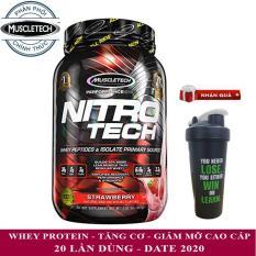 Sữa tăng cơ cao cấp Whey Protein Nitro Tech của MuscleTech hương Strawberry hộp nhỏ 20 lần dùng – Phân phối chính thức
