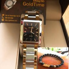 Đồng hồ nam mặt vuông HALEI dây thép TẶNG 1 vòng tỳ hưu phong thủy may mắn đồng hồ (dây demi mặt đen)