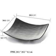 Bộ 2 Dĩa Vuông melamine cao cấp màu đen sâu lòng 20.5*20.5*4.3 Cm FP08