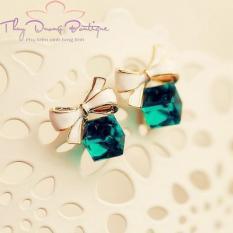 Bông tai nơ xinh đá pha lê xanh lục BHQ014Hàn Quốc