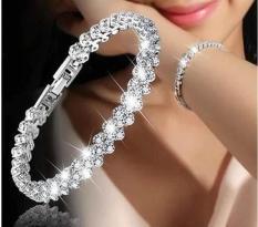 Lắc tay nữ mặt đính tinh khối kim cương thời trang mạ bạc (bạc,hồng) – oden0425