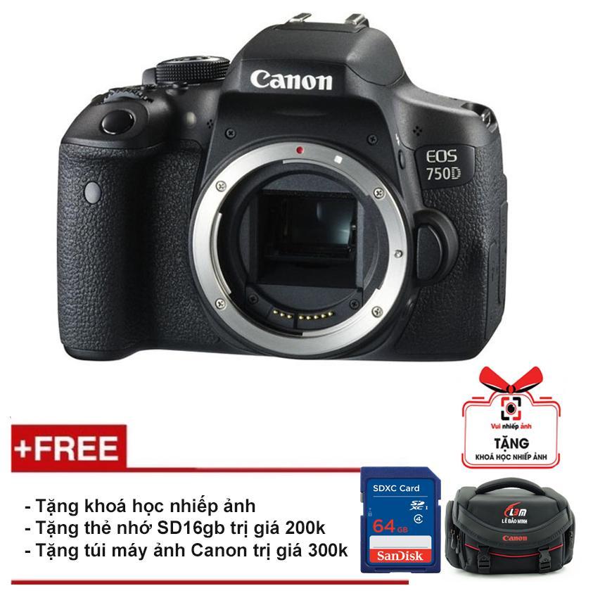 Canon 750D (Chỉ thân máy) (Hàng Canon Lê Bảo Minh) -Tặng khoá học nhiếp ảnh EOS + Thẻ SD 16GB + Túi Canon