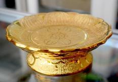 Đĩa trái cây thờ cúng kim sa vàng rộng 21cm