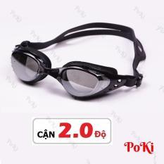 Kính bơi CẬN 1.5 – 8.0 độ BLACK thời trang 6200, chống UV, chống HẤP HƠI, kính bơi cao cấp – POKI
