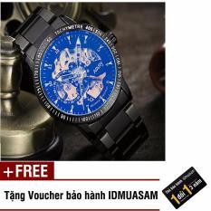 Đồng hồ cơ tự động dây thép không gỉ Nary 6098 (Dây đen ánh xanh) + Tặng kèm voucher bảo hành IDMUASAM