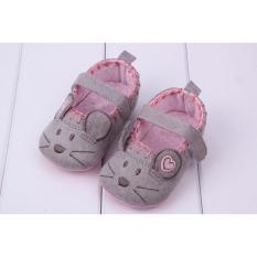 Giày Búp Bê Tập Đi Hình Chuột Xinh Xắn Cho Bé