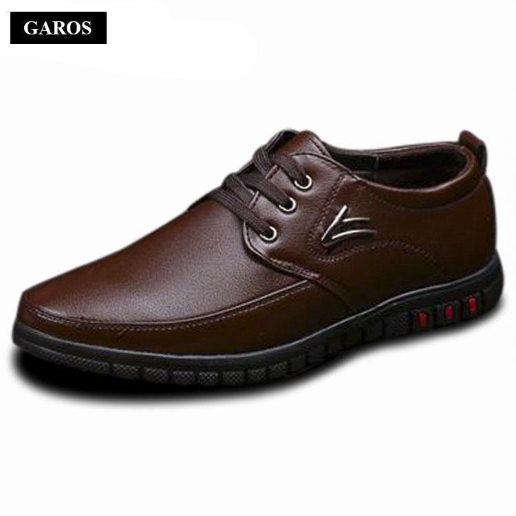 Giày da nam đế bằng kiểu dây buộc Garos GMG52292