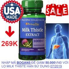 Viên uống bổ gan, giải độc gan, tăng cường chức năng gan Puritan's Pride Milk Thistle Extract 1000mg 90 viên HSD tháng 4/2020