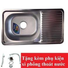 Chậu rửa bát Inox Tân Á xuất khẩu 1 ngăn (có bàn phụ) – đã đủ phụ kiện thoát nước