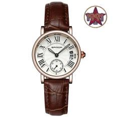 Đồng hồ nữ dây da cao cấp SANDA JAPAN SA206 – Dây nâu. Tặng kèm vòng tay