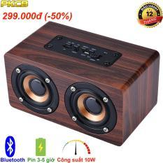 loa gỗ bluetooth HIFI super bass stereo Speaker âm Thanh Nổi PKCB G4 gắn thẻ nhớ 3 trong 1