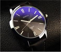 Đồng hồ dây da Yazole 332 HX009-dây đen mặt xanh