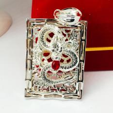 Mặt dây chuyền Thiên Long vuông bạc đá thạch anh đỏ trang sức phong thủy, may mắn, tài lộc