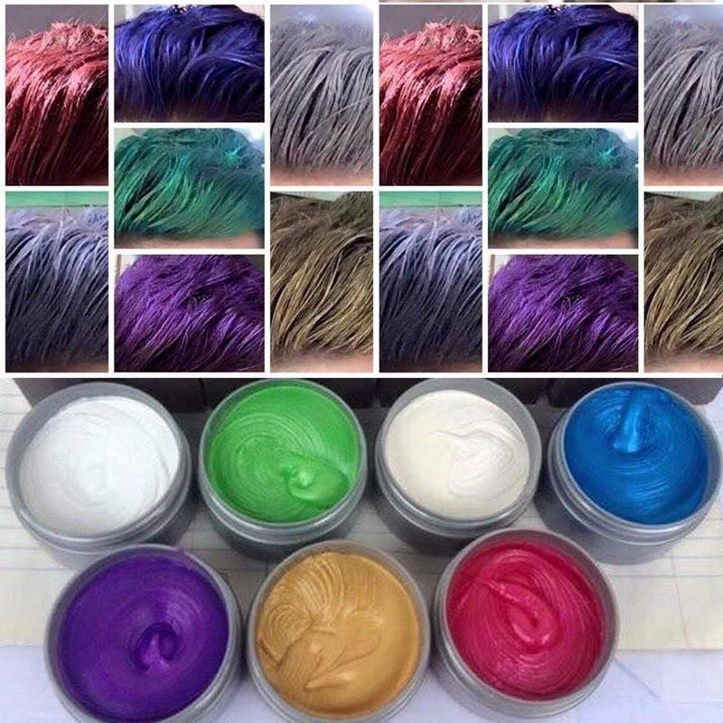 sáp vuốt tóc tạo màu 8 màu cho quý khách chọn: màu Xám khói – Bạch kim – Tím – Xanh lam- Xanh rêu – Vàng – cafe đỏ