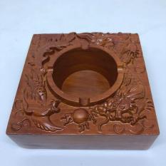Hộp Gạt tàn vuông nguyên khối bằng gỗ Hương cao cấp