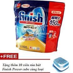 Viên rửa bát Nhật Bản Finish Power Cube ( túi 150 viên ) dành cho máy rửa bát mẫu mới 2018