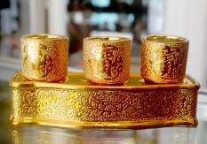Án ba-Bộ ba ly nước thờ cúng kim sa vàng