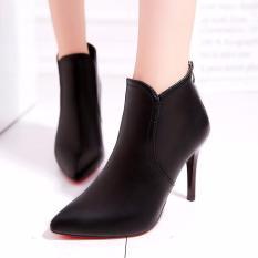 Giày boot nữ cổ ngắn gót mũi nhọn siêu hót 2018