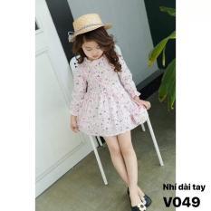 Váy đầm hoa tơ thô dài tay kèm túi đeo( Vàng- Hồng) cho bé gái từ 1 tuổi đến 6 tuổi