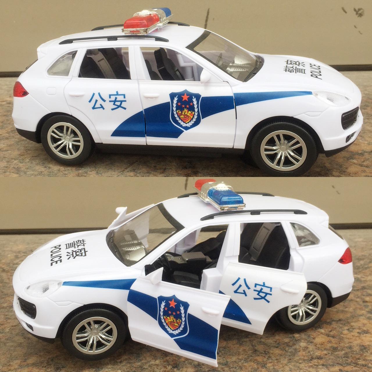 Xe cảnh sát có nhạc đèn mở cửa hạ ghế chạy pin