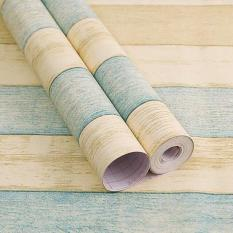 Cuộn 5M decal giấy dán tường (có sẵn keo) – VÁN SỌC XANH VÀNG PT020