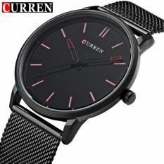 Đồng hồ nam mặt mỏng Curren 8233 hiển thị Analog dây thép lưới không gỉ (Đen)