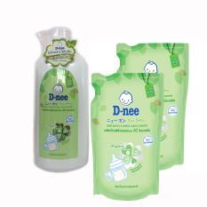 Combo dung dịch nước rửa bình sữa Dnee 1 chai vòi 500ml+2 gói thay thế 600ml