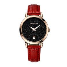 Đồng hồ nữ thời trang nữ mặt kim tuyến dây da cao cấp Sanda DA01