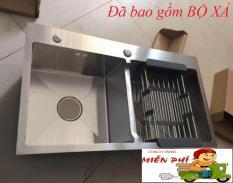 Chậu rửa bát Inox 304 Đúc Nguyên Khối 82 x 45cm 2 hố cân (tặng kệ để đồ)
