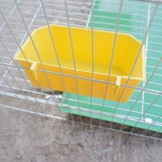 (Bộ 2 chiếc) Máng ăn uống gia cầm hình vuông dạng treo chuồng lồng- (15x7x5cm)- máng ăn uống chim cảnh gà chọi, gà tre, gà đá,nhím, chuột, mèo, chó con (hanpet 603b)