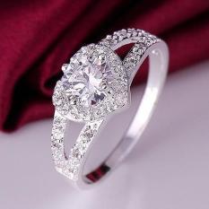 BODHI Nhẫn cưới nữ sang trọng mạ bạc Rhinestone Love Heart shaped US size 8