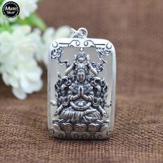 Mặt Dây Chuyền Nam, Mặt Dây Chuyền Phong Thủy, Mặt Phật, Mặt Dây Chuyền Phật Thiên Thủ Thiên Nhãn Đá Trắng Chất Liệu Bạc Thái Cao Cấp – Thương Hiệu Myan Silver