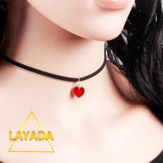 Vòng cổ choker ( VC19035 ) mặt pha lê trái tim đỏ cao cấp nổi bật – LAYADA