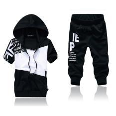 Set quần áo nam khóa kéo phối màu thời trang Xưởng May giá rẻ MEN QA 10013 (đen)
