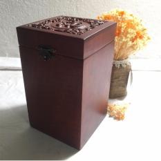 Hộp đựng trà gỗ hương điêu khắc chữ Phúc và hoa văn cực đẹp