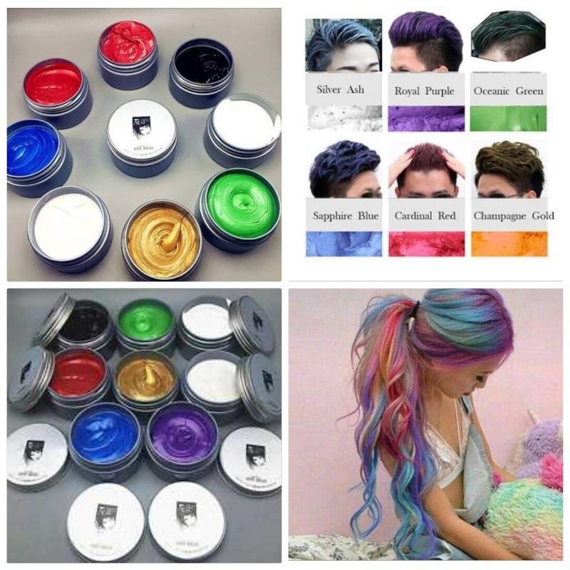 sáp vuốt tóc tạo màu 8 màu tùy chọn màu cafe – màu cafe – màu bạch kim – màu đỏ – màu xanh rêu – màu xanh dương- màu vàng – màu tím
