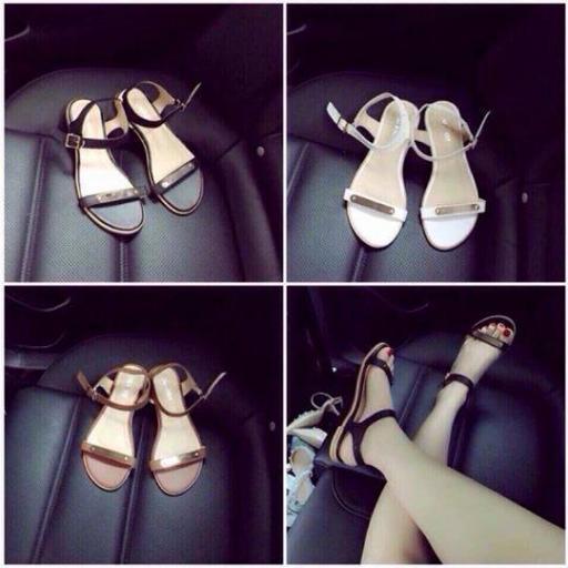 Giày sandal quai ngang tán vàng