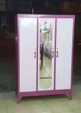 Tủ sắt đựng quần áo 3 cửa ngang 1m2 cao 1m8 màu hồng