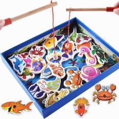 Bộ câu cá gỗ nam châm 32 chi tiết loại Đẹp có hộp màu độ bền cao an toàn cho sức khỏe đồ chơi trẻ em