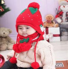 Bộ khăn mũ nón len thu đông trẻ em Dâu Tây cho bé gái ML44 ( Xả Hàng ẢNH THẬT )