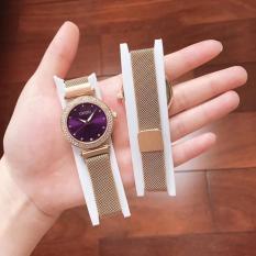 Đồng hồ nữ dây kim loại Guou viền đá ( dây vàng mặt tím)